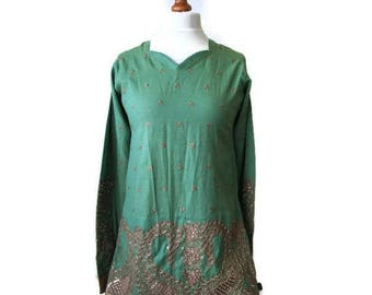 Embroidered Ethnic Green Dress/Beautiful BoHo Green Dress/Hippie dress/Tribal dress Tunic, Gift for Her Green Dress