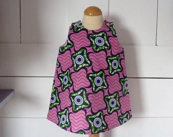 robe fille 9 mois rose imprimée de motifs verts