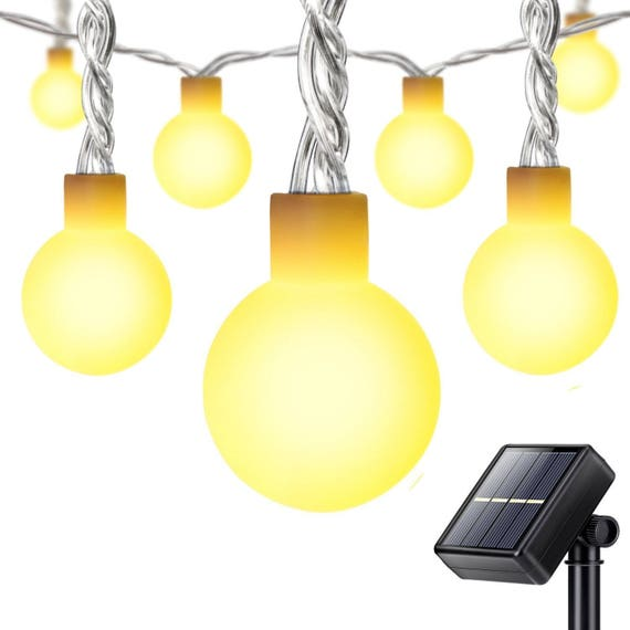 Outdoor Bistro Solar Powered Globe String Lights: 50LEDs Globe Ball Lights Solar Powered Outdoor String