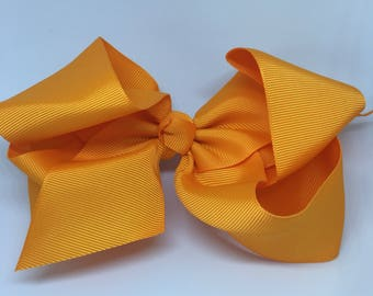 Orange Boutique Bow, Baby Hair Clip, Baby Bow, Toddler Hair Clip, Toddler Bow, Spring Baby Hair Clip