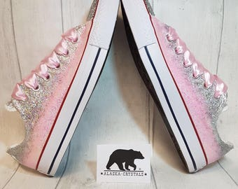 Glitter Converse, wedding converse, crystal converse, Swarovski converse, custom converse, pink converse, quinceanera shoes, prom shoes