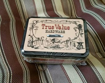 1996 Case XX Peanut 6120 SS True Value Hardware Commemorative Pocket Knife Series I Knife Sealed in Collectible Tin Unopened