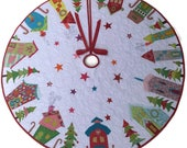 Custom Sizes, Appliqué Christmas Tree Skirt, Whimsical Tree Skirt, Houses, Trees, Stars, Bright Colors and Bold Designs,