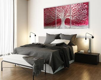 Red Modern Metal Wall Art, Tree Contemporary Metal Wall Art With Trees, Modern Metal Wall Sculpture, Metal Wall Art, Red Home Decor,