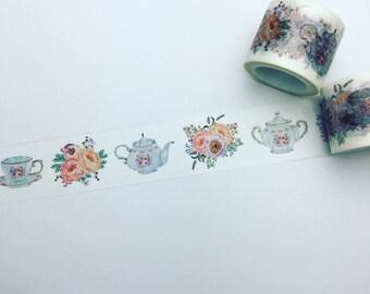Floral tea cup and tea pot washi tape