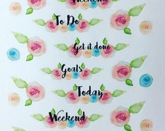 Wanderlust - planner/journal stickers (florals)