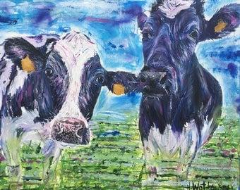 Minnie & Maude- Original Acrlyic Cow Painting