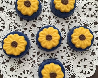 SUNFLOWER Chocolate Covered Oreos - Sunflowers/Party Favors/Wedding Favors/Garden Party/Birthday Party Favors