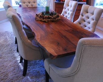 Live Edge Dining Table - Walnut - Bookmatch slab - Reclaim / Salvaged Wood Table