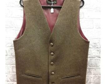 """40""""-42"""" Men's Waistcoat - Mens Pure Wool Tweed Vest, Men's Pure Wool Brown Tweed waistcoat"""