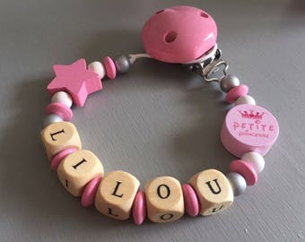Pacifier clip-pacifier with Lilou name wooden beads