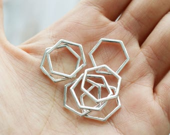 10 hexagon charms, silver honeycomb, minimalistic charms, hollow charms, simple shape charms, geometric charms, silver charms, metal charms,
