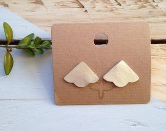 Fan stud earrings | Fan/Dart large stud earrings in recycled sterling silver | Handmade jewellery | Ethical gift | Recycled packaging.