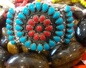 Vintage 70's Zuni Turquoise Coral Cuff