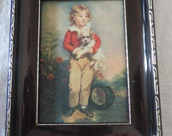 """Print on canvas reproduction """"Boy with dog"""" Arthur quote, small model, arty, collection, portrait, deco deco retro."""