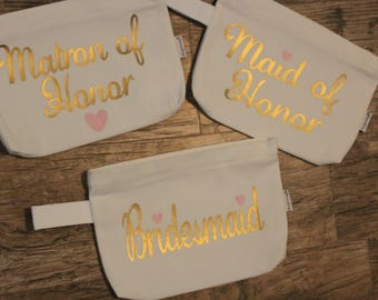 Bridal party zipper pouch/ makeup bags, Personalization available