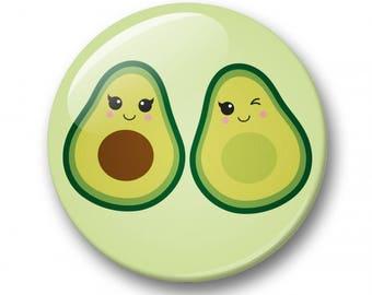 Avocado badge 32mm | Cute kawaii avocado pin back button | kawaii pin badge  | kids party | Gift Party Favor | avocuddle Accessory