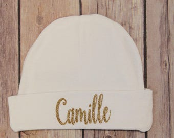 Personalized Newborn Hat, Baby name hat, baby hat, Newborn baby hat, Newborn baby name hat, baby name hat, Personalized baby hat