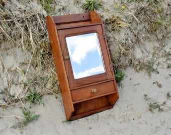 antique wall cabinet vintage kitchen or bathroom storage cabinet in solid oak with mirror