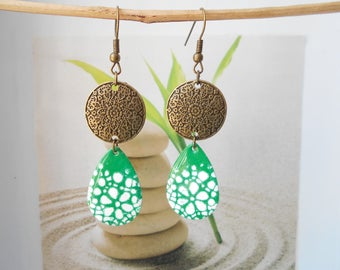bronze sequin earrings green and white