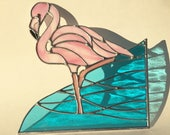 Handmade Flamingo Wading in Tropical Ocean Stained Glass