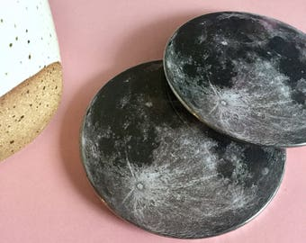 Moon coaster set / Drink coasters / Glass coasters / Housewarming gift / Planet coasters / Party Favors