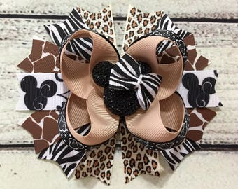 Minnie Mouse Hair Bow ,Animal Kingdom Minnie Mouse Hair Bow ,Animal Print Minnie Mouse Hair Bow , Minnie Mouse Safari Hair Bow or Headband