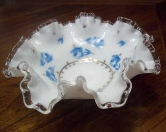 Vintage Fenton Silvercrest Ruffled Bowl Hand Painted Blue Roses & Gold