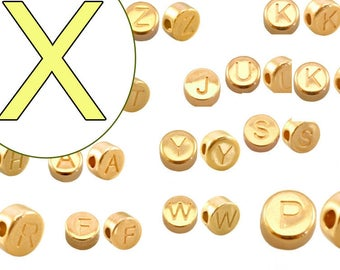 alphabet bead  X 7mm gold plated #3853