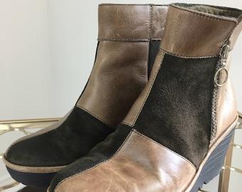 1990s Leather Booties - Boho Patchwork Boots - London Fly - Brown Platform Wedge Heel - Side Zipper - Size 6.5 US 37 EU