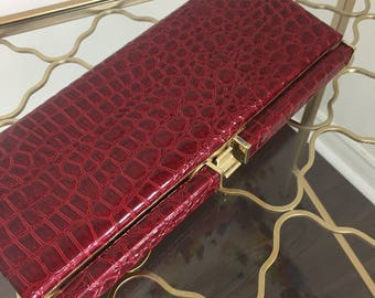 1980s Clutch - Red Faux Alligator Clutch - Vegan - Animal Print Clutch - Sexy Sleek Red Pleather Alligator Purse - Gold Trim - Snap Closure