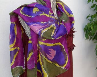 """""""Invitation to travel"""" hand painted silk shawl (D)"""
