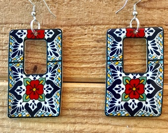 Talavera mexican pottery inspired shrink plastic square rectangle red flower dangle earrings handmade lightweight mosaic tile