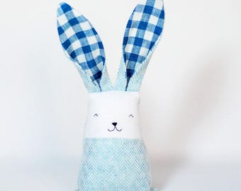 Blue baby shower toy,  baby bunny, toys for boy, tartan bunny rabbit, Easter basket, baby shower decor, baby fabric teether, teething toy