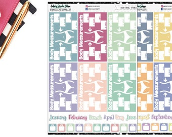 Body Measurements & Weight In Planner Stickers [FN1003]