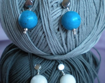 Silver earrings and hard stone