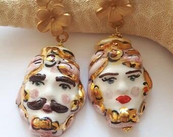 Caltagirone ceramics and Flower Earrings brass, Sicilian earrings