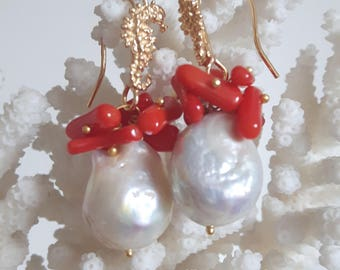 White Baroque pearl earrings, coral, seahorses in silver
