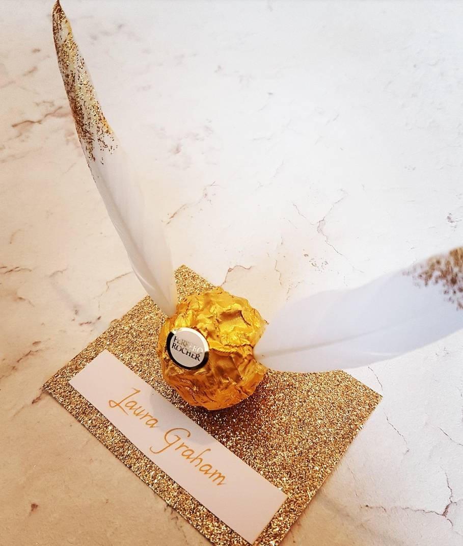 Harry Potter snitch inspired Ferrero rocher wedding favour
