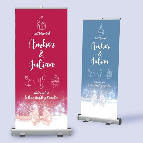 Wedding Welcome Banner.  Wedding Pull Up Banner with Ribbon design.  Any wording / colours to match your theme.
