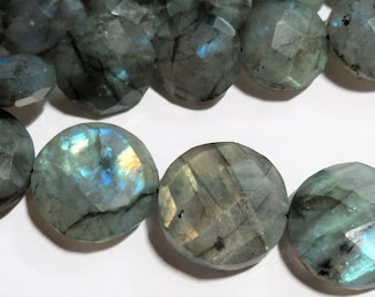 "LARGE 15mm Labradorite Faceted COIN stone bead strand Rainbow Flash Gemstone Beads Full Strand 8"" Fire Healing Crystal Jewelry Supplies gem"