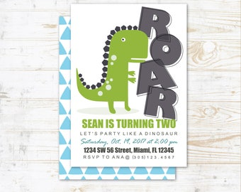 Dinosaur Birthday Party Invitation - Instant Download, Edit & Print at Home