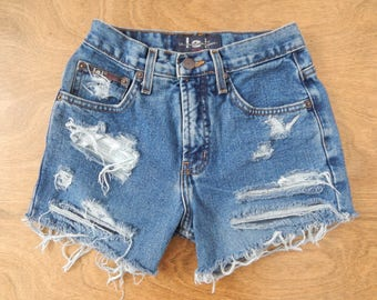 SIZE 24, 90's, High Waisted Denim Shorts, LEI