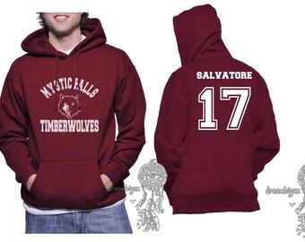 Salvatore 17 Mystic Falls Timberwolves white print printed on Unisex Hoodie Maroon