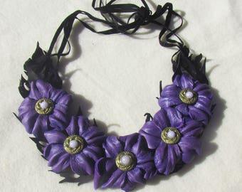 Leather Necklace Purple flowers, Purple flowers Necklace leather, Spring necklace, flowers neckace leather, Wedding necklace, Purple flowers