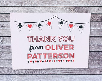 Personalized Casino Thank You Cards / Las Vegas Custom Single or Pack