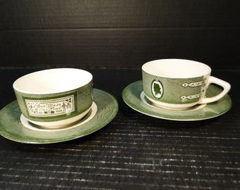 TWO Royal China Colonial Homestead Green Cup Saucer Sets 2 EXCELLENT!