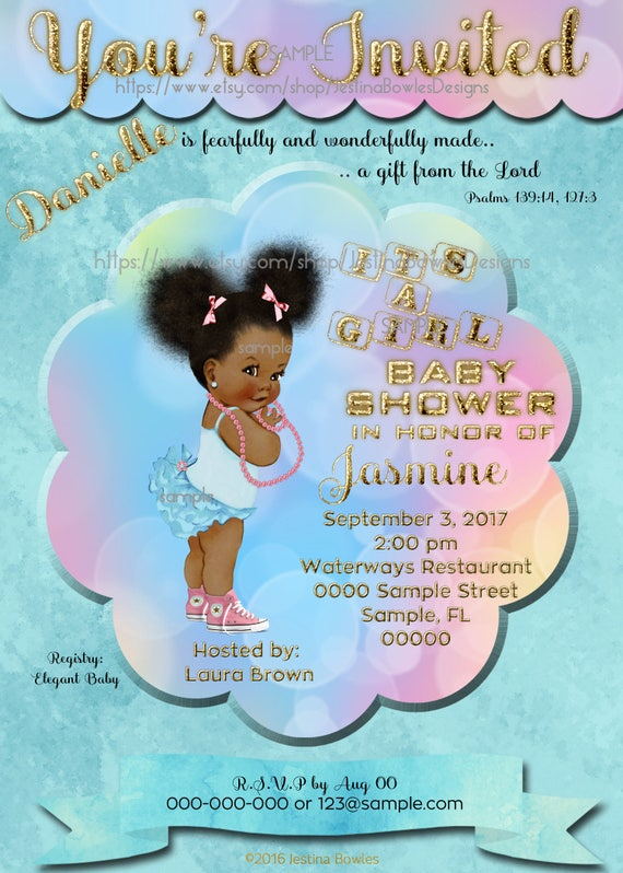 Baby shower invitation african american baby girl shower like this item negle Images