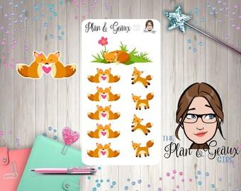 Fox Planner Stickers, Fox Love Planner Stickers, Date Night Planner Stickers, Happy Planner, Bullet Journal, FUN-164