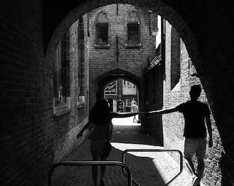 Bruges Print, Brugge Print, Belgium Print, Black And White Print, Travel Photography, Romance Print, Love Print, Street Photography, Square